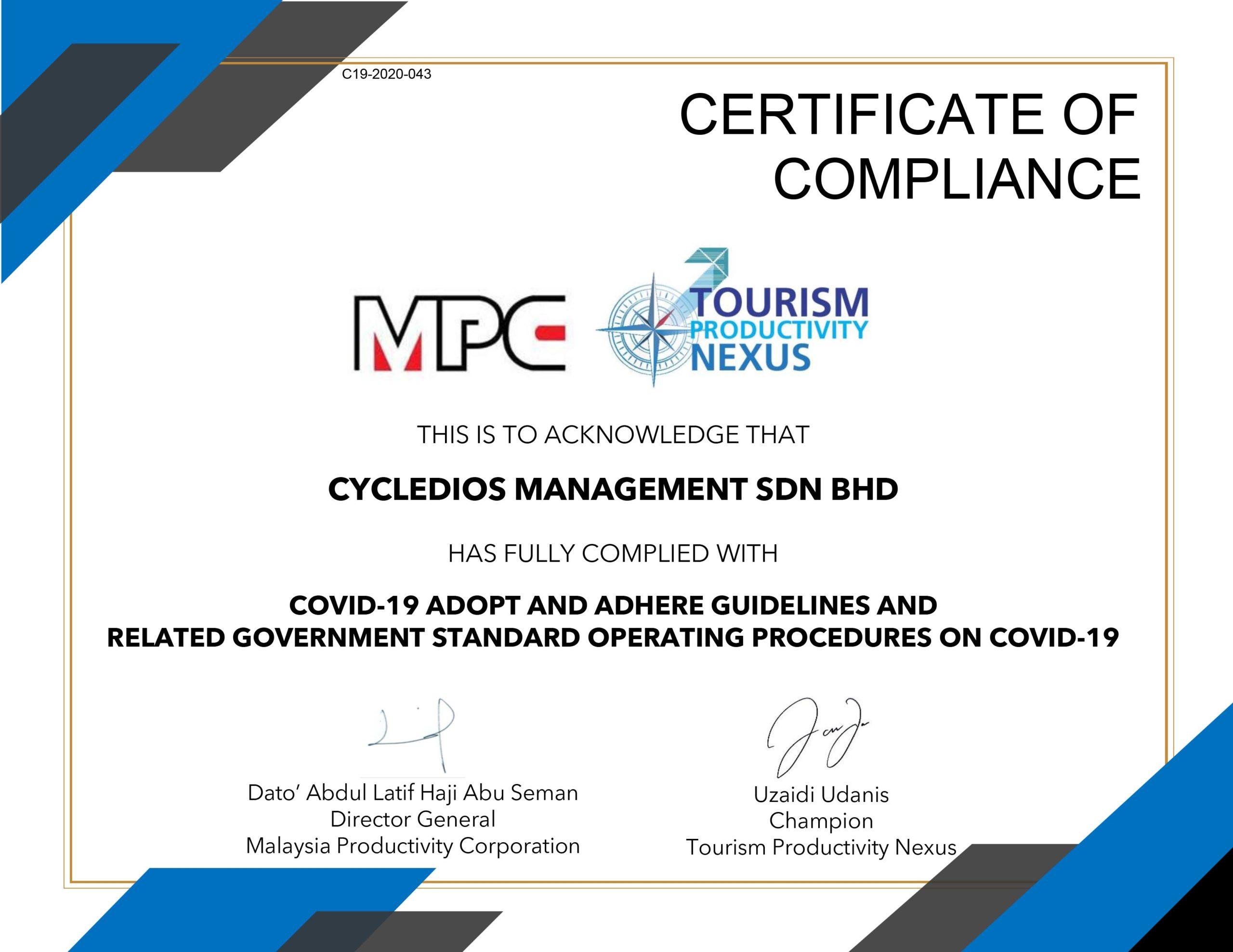 Cert - 043 CYCLEDIOS MANAGEMENT SDN BHD CERTIFICATE GPPAC19